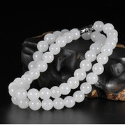 Hetian jade seed makings is patted to auction a yuan @ Afghanistan white jade round bead necklace paragraphs short female kunlun jade necklace