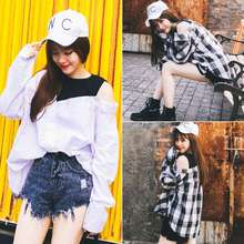New Korean women fall irregular BF thin wind loose fake two classic plaid shirt with long sleeves