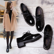 A small black leather shoes 2017 female new fall all-match Korean students Harajuku flat shoes shoes British Wind tide