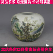 The pastel landscape pattern of Jingdezhen antique antique porcelain water jar vintage old antique collection