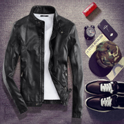 The leather jacket slim handsome young male Korean version of the spring and autumn men's leather jacket slim type locomotive trend