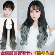 Female U type half wig headgear with long curly hair fluffy face no long hair waves repair scar in natural hair