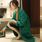 In the spring of 2017 new Korean women's wool tweed coat was thin loose in the long section of green cocoon coat girl