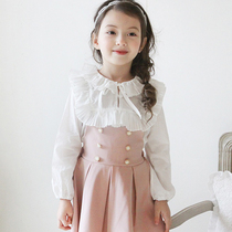 In spring and autumn the new Korean version of the childrens clothing baby girls long sleeve shirt cotton collar lace dress shirts at the end of volume