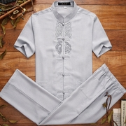 60-70 year old grandpa summer suit old male costume short sleeved summer linen clothes old dad.