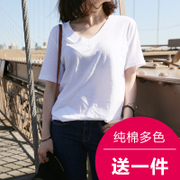 Simple student summer pure white short sleeved T-shirt girl V collar loose cotton solid color shirt s Casual