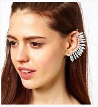 Europe exaggerated Glass Crystal Earrings Ear ear clip wings luxury female