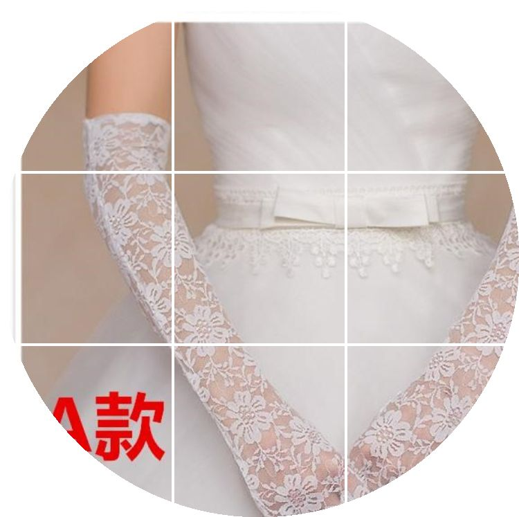 Korean lace, white, short Bridal Wedding Gloves, tulle, spring and summer wedding accessories