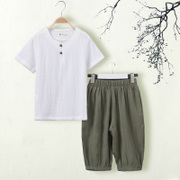 The big boys summer suit 2017 new children in the summer of 7 cotton 5 Han children 11 tide clothing under the age of 13