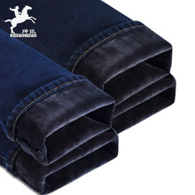 His men with velvet jeans stretch gentry male winter winter, thickened straight slim young long pants and warm