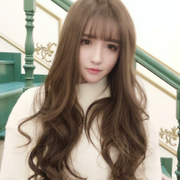 South Korean Air bangs wig female version of long curly round face oblique bangs natural realistic big wave women's head