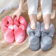 Cotton slippers autumn winter and winter couples home warm and warm in the bottom of the room with a half pack with plush slippers winter