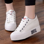 Spring white canvas shoes female Korean students increased thick low shoes all-match leisure muffin bottom white shoes
