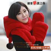 The new Korean hat scarf glove one cute plush Double thick warm three piece female winter