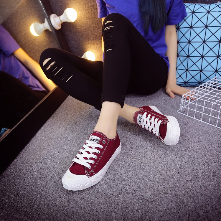 Korean school tie low wine red canvas shoes female flat shoes green yellow and grey color student shoes