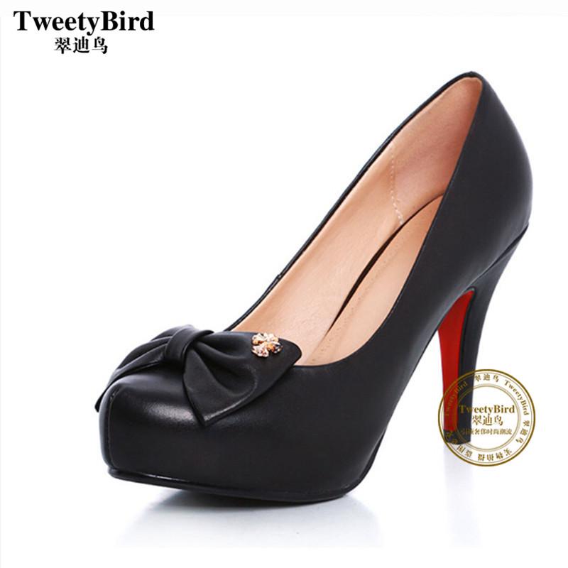 奢侈品牌 Tweetybird 欧美大牌蝴蝶结高跟鞋防水台单鞋细跟女鞋