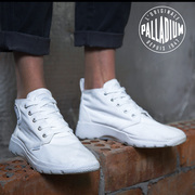 Paladin PALLADIUM men and women shoes Gao Bang canvas white shoe Pallaville D3Mid 75418