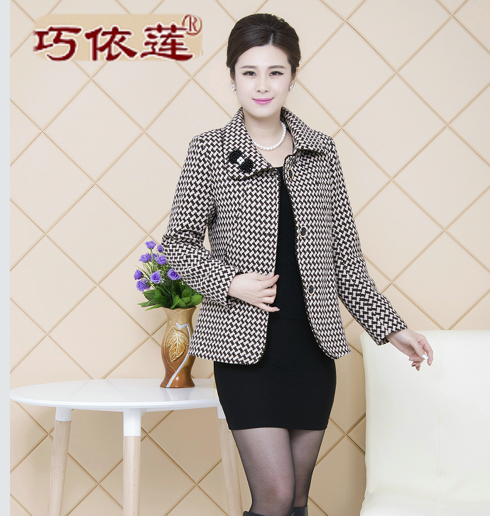 Middle-aged women's clothing about qiu dong outfit wool coat lapel middle-aged single-breasted mother into woolen cloth small suit, jacket