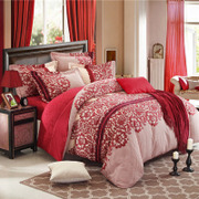 April Nobel wedding bedding cotton thickened four piece 1.8m sanding fitted Red Cotton wedding celebration Suite