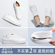 All-match shoes white shoes thick autumn 2017 new soft bottom shoes in winter white shoes increased Korean Muffin