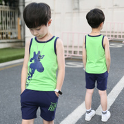 The boy summer suit 2017 new 5 children 6 children 8 9 7 cotton vest shorts two piece set 10-12