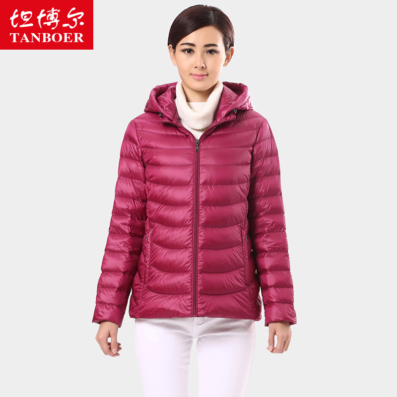 Temple boulder in large yards short down jacket female thin mother hooded straight TB8236 middle-aged and old model