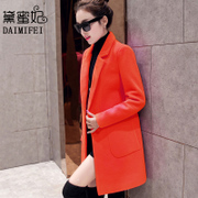 Wool tweed coat girls long winter 2016 new Korean winter slim slim dress all-match woolen coat