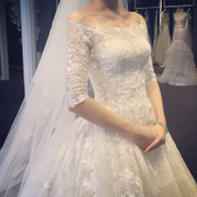 Korean 2017 new long tail lace wedding dress simple wedding bride word long sleeve