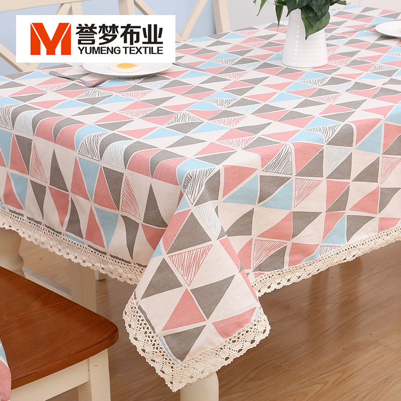 Round table rectangular table table cloth towel cloth custom linen tablecloths pastoral small fresh tea table cloth lattice