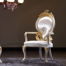 FP European garden wood carving high-end custom furniture French restaurant furniture wood white chair armrests