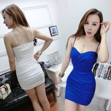 2017 summer V sling plunging necklines package hip dress sexy nightclub dress strapless dress thin tight skirt