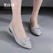 The new spring and summer 2017 slope with shallow mouth pointed shoes work shoes with thick all-match Korean lady low heel casual shoes