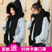 Female student winter hat scarf glove three piece suit collar one double plush thick warm three piece tide