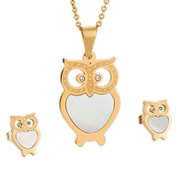 Han edition jewelry suit Lovely owl with shell pendant necklaces earrings 18 k gold plated titanium steel suits