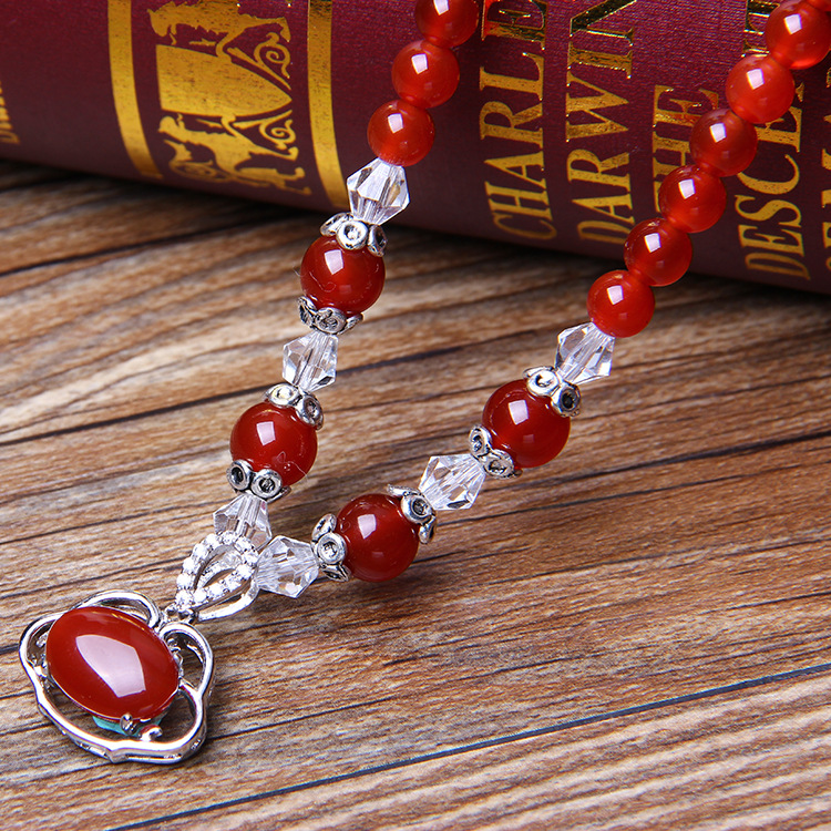Pure natural crystal ladies love Korean Red Agate Bracelet lock pendant poly peace zone Hannaford accessories