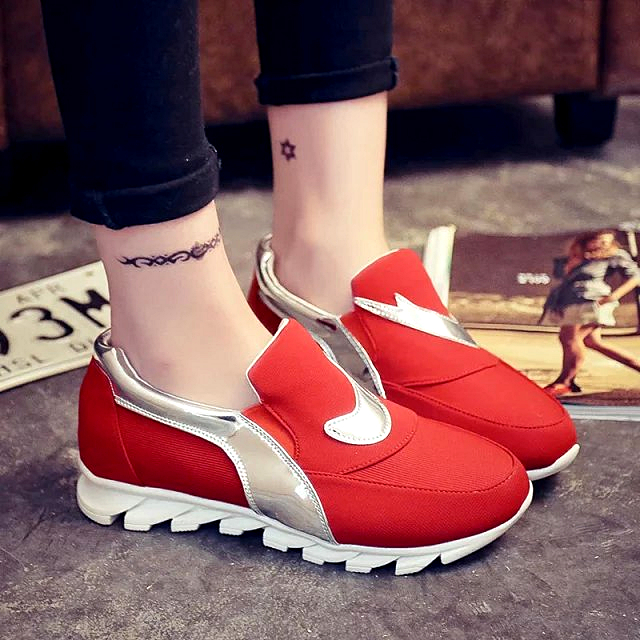 The 2015 fall sports shoes slip-on Korean women shoe muffin canvas shoes shoes increased shake a pedal