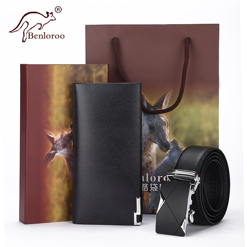 Kangaroo men's fashion long bi-fold leather wallet thin vertical wallets leather men's business casual leather