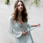 Sang Luo elegant silk pajamas home service long-sleeved lace silk thin and comfortable nightgown female