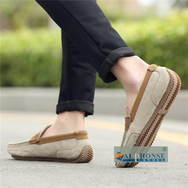 The summer men's scrub shoes peas male leather loafers all-match British leisure Korean loafer suede shoes