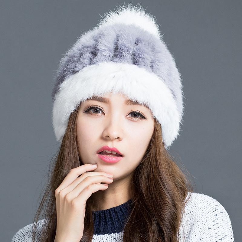 帽子女冬天韩版潮冬季帽子女韩国秋冬兔毛帽子毛线帽女士皮草帽子
