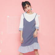 2017 summer new Korean women's College wind spell color lotus leaf edge hem dress dress false two sets