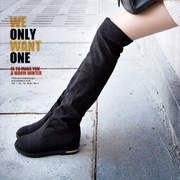 Female winter boots knee high boots in the flat with single women boots boots long canister boots leg stretch