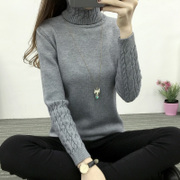 New winter dress Korean Turtleneck Shirt sleeve female twist head thickened slim slim sweater