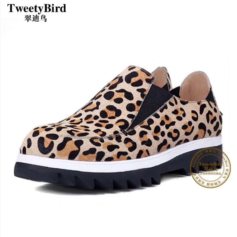 奢侈品牌 Tweetybird 韩版时尚潮女百搭圆头套脚豹纹低跟女单鞋子
