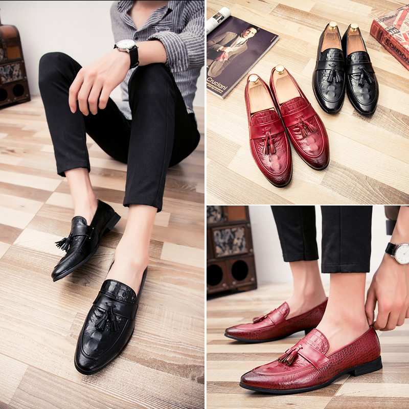 Bullock men's casual shoes stylist pointed shoes set foot shoes tassel lazy fashion wedding shoes black shoes