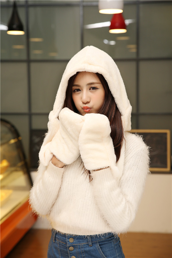The explosion of Korean hat scarf glove body double plush three piece thick warm winter female all-match thickening