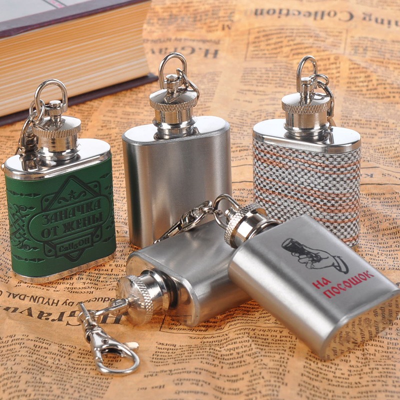 British fashion portable small wine pot with 1 oz Stainless steel flagon flagon Keychain can be customized