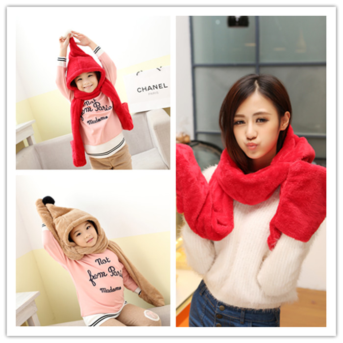Korean Cute Panda winter thickening comfortable and warm female Collar Scarf Hat Gloves three piece bag mail