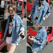 2017 new spring loose thin old denim jacket wear white long sleeved shirt retro Korea female students tide