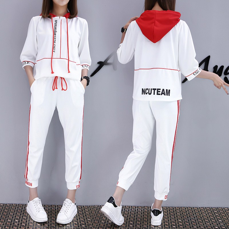 Sweater female nine pants sportswear two piece Couture summer 2017 new tide five sleeve hooded.